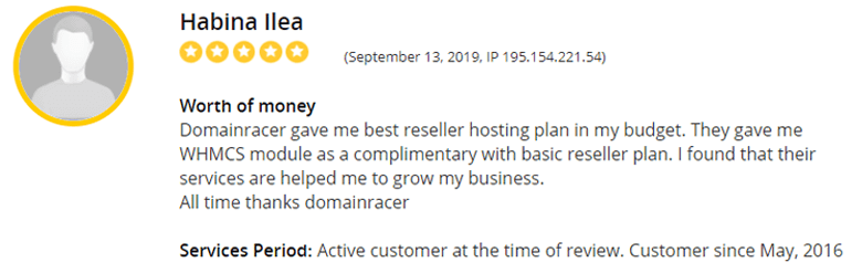 top rating cpanel domainracer reseller hosting
