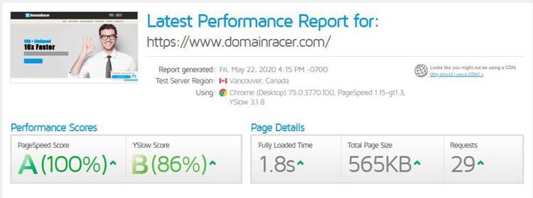 domainracer hosting performance
