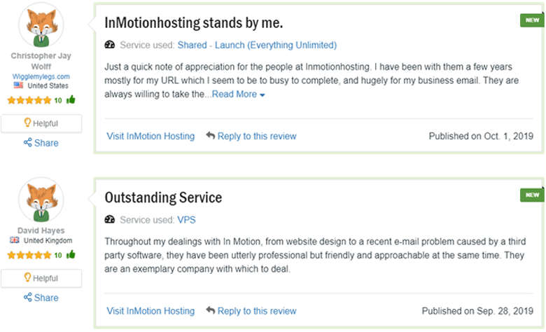 customer rating reseller inmotion hosting